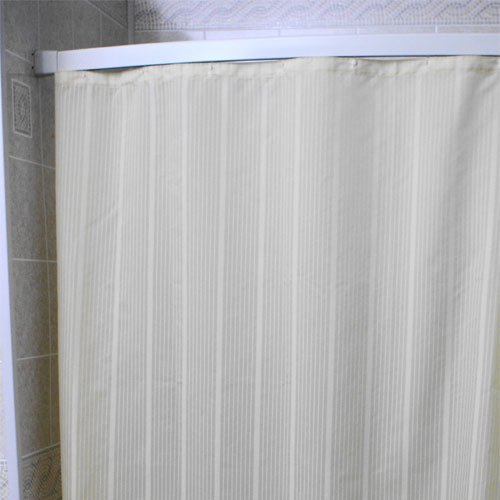 Kartri Super Stripe Nylon Shower Curtain w/ Sewn Eyelets 70x72 White ...