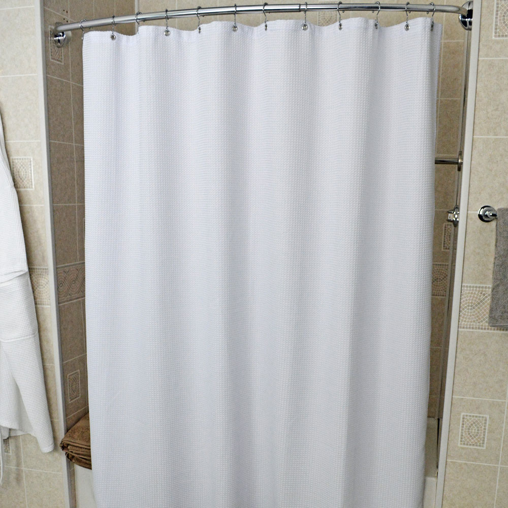 Kartri Urban Waffle Polyester Shower Curtain W Metal Grommets 36x72 White 12 Per Case Price Each