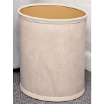 Lancaster Colony Deluxe Metal 13 Qt. Leatherette Metal Fire Retardent Wastebasket w/ Top & Bottom Bumpers 8 Per Case Price Per Each
