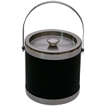 Lancaster Colony 3 Qt. Stainless Steel Black Italia Ice Bucket w/ Silver Trim 12 Per Case Price Per Each