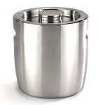NuSteel 2 Qt. Brushed Stainless Double Walled Ice Bucket w/ Indented Handles 12 Per Case Price Per Each