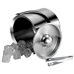 NuSteel 3 Qt. Brushed Stainless Double Walled Ice Bucket w/ Tong 6 Per Case Price Per Each