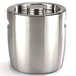 NuSteel 3 Qt. Brushed Stainless Double Walled Ice Bucket w/ Indented Handles 12 Per Case Price Per Each