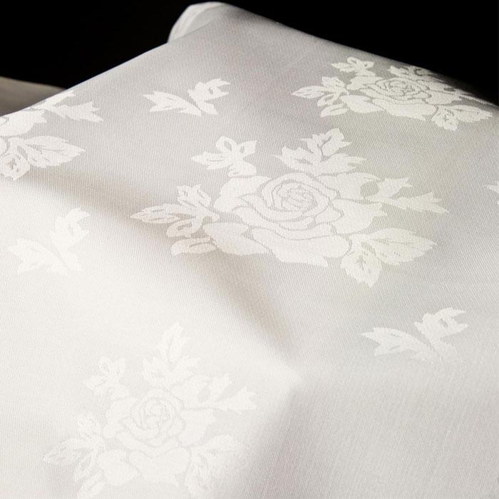 Riegel Allover Rose Beauti  Damask Cotton Blend Rectangular Tablecloth  54x90 White 1 Dz Per Case Price Per Dz