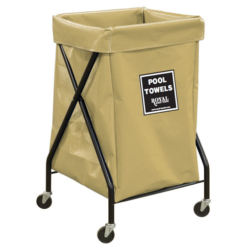 Royal Basket 6 Bushel Vinyl Pool Towel X Frame Cart