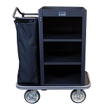 Royal Basket Compact Housekeeping Cart w/ 3 Shelves & 1 Bag Black