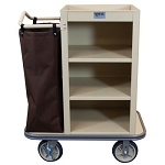 Royal Basket Compact Housekeeping Cart w/ 3 Shelves & 1 Bag Beige