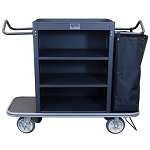 Royal Basket Slim Line Housekeeping Cart w/ 3 Shelves 1 Bag & Vacuum Bar Black