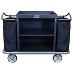 Royal Basket Standard Housekeeping Cart w/ 2 Shelves & 2 Bags Black