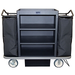 Royal Basket Deluxe Housekeeping Cart w/ 3 Shelves 2 Bags Vacuum Bar & Glass Rack Black