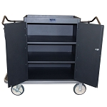 Royal Basket Locking Cabinet Housekeeping Cart w/ 3 Shelves & 2 Bags Black