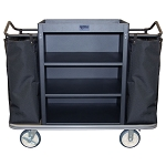 Royal Basket Standard Housekeeping Cart w/ 3 Shelves & 2 Bags Black