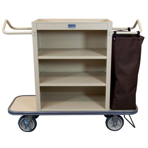 Royal Basket Slim Line Housekeeping Cart W/ 3 Shelves 1 Bag U0026 Vacuum Bar  Beige