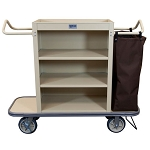 Royal Basket Slim Line Housekeeping Cart w/ 3 Shelves 1 Bag & Vacuum Bar Beige