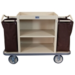Royal Basket Standard Housekeeping Cart w/ 2 Shelves & 2 Bags Beige