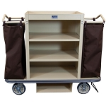 Royal Basket Deluxe Housekeeping Cart w/ 3 Shelves 2 Bags Vacuum Bar & Glass Rack Beige