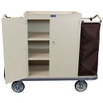 Royal Basket Locking Cabinet Housekeeping Cart w/ 3 Shelves & 2 Bags Beige