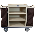 Royal Basket Standard Housekeeping Cart w/ 3 Shelves & 2 Bags Beige