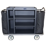 Royal Basket Split Cabinet Housekeeping Cart w/ 5 Shelves & 2 Bags Black