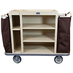Royal Basket Split Cabinet Housekeeping Cart w/ 5 Shelves & 2 Bags Beige