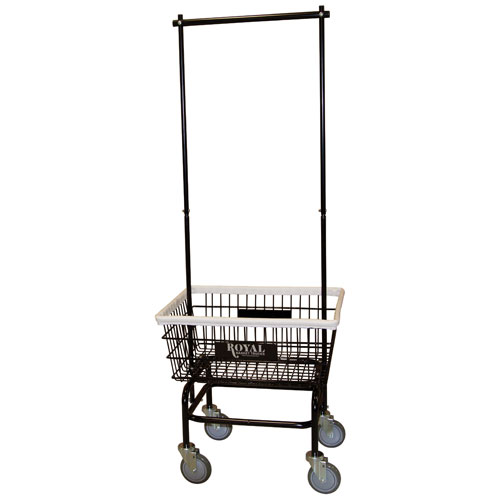 Royal Basket Small Basket Wire Laundry Cart W Double Hanger