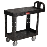 Rubbermaid Commercial 450500BK 2- Shelf Flat Utility Cart Small Black