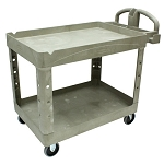 Rubbermaid Commercial 452088BG 2- Shelf Heavy-Duty Utility Cart w/ Lipped Shelf Medium Beige