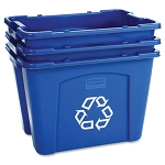 Rubbermaid Commercial 571473BE 14 Gallon Stacking Recycling Box Blue 6 Per Case Price Per Each