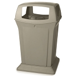 Rubbermaid Commercial 9173-88 BEI 45 Gallon Ranger® Container w/ 4 Openings Beige