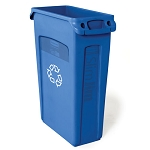 Rubbermaid Commercial 354007BE 23 Gallon Slim Jim® Recycling Container w/ Venting Channels Blue