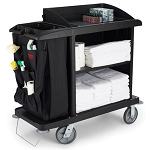 Rubbermaid Commercial 6190BLA Compact Housekeeping Cart w/out Doors Black
