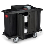 Rubbermaid Commercial 6191BLA Full Size Housekeeping Cart w/ Doors Black