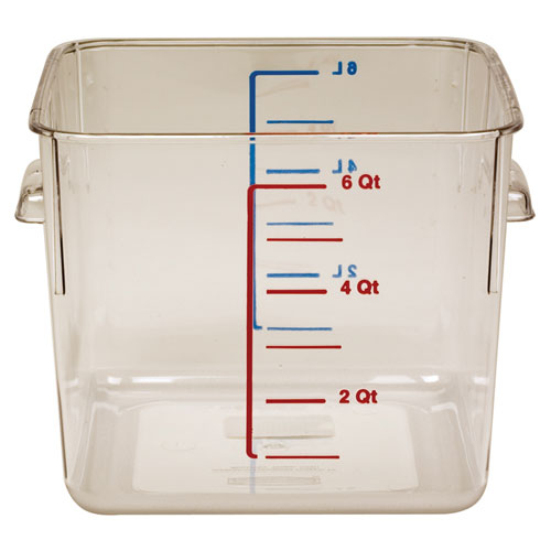 Rubbermaid Commercial 6306CLE 6 Qt. Space Saving Square Storage Containers  6 Per Case Price Per Each