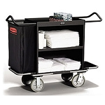Rubbermaid Commercial 9T62BLA High-Capacity Metal Housekeeping Cart Black