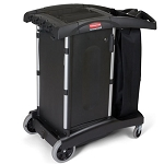 Rubbermaid Commercial 9T77 Compact Turndown Housekeeping Cart Black