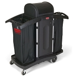 Rubbermaid Commercial 9T78 Compact High-Security Housekeeping Cart w/ Locking Hood Black
