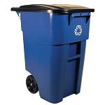Rubbermaid Commercial 9W2773BLU 50 Gallon Brute® Recycling Rolling Container w/ Lid Blue