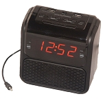 "Sonnet R-2218 0.9"" LED Single Day Alarm Clock Radio w/ 2 USB Ports & Aux in Cord Black 20 Per Case Price Per Each"