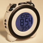 Sonnet T-4689 Atomic LCD Two Alarm Clock w/ Mechanical Bell Alarms White 50 Per Case Price Per Each