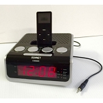 "Sonnet R-1530 0.9"" LED FM Clock Radio w/ 30 Pin Docking Station Black 4 Per Case Price Per Each"