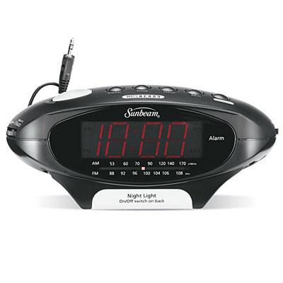 sunbeam 089020 0 9 led mp3 ready am fm alarm clock radio black 18 per case price per each. Black Bedroom Furniture Sets. Home Design Ideas