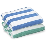 Thomaston Mills Island Stripe Pool Towels 30x70 100% Cotton Pacific Blue or Tropical Green 2 Dz Per Case Price Per Dz