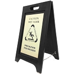Hospitality 1 Source Wet Floor Sign Brass/Black Finish 2 Per Case Price Per Each