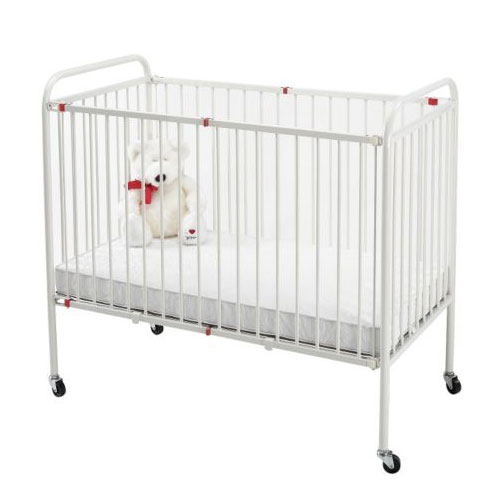 wehsco porta size steel folding crib w 3 waterproof mattress