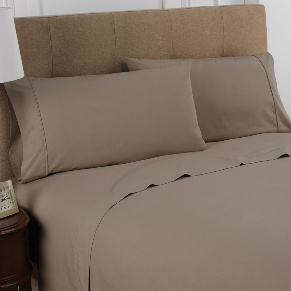 Martex Colors T 200 Fitted Sheet Queen 60x80x12 60% Cotton 40% Polyester  Khaki 1 Dz Per Case Price Per Dz
