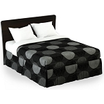 Martex Rx Circles & Stripes Bed Skirt Twin XL 39x80x15 Poly/Cotton Black/Gray 1 Dz Per Case Price Per Each