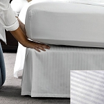 Martex Patrician T-250 Stripe Bed Skirt Full XL 54x80x15 60% Cotton 40% Polyester White 12 Per Case Price Per Each