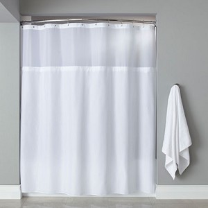 Hooked™ Poly Premium Fabric Shower Curtain w/ Grommets Sheer Window & PEVA Liner 71x72 White 12 Per Case Price Per Each