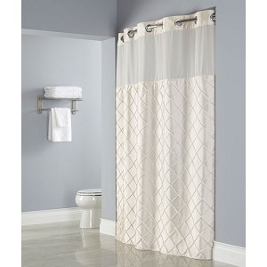 Hookless® Pintuck Polyester Shower Curtain w/ It's A Snap!® Replaceable Liner 71x77 Beige 12 Per Case Price Per Each