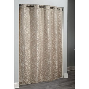 HooklessR Tree Branch Overlapping Metallic Pattern On Taupe Polyester Shower Curtain W Its A